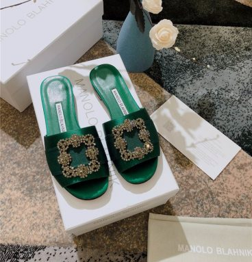 Manolo Blahnik silk slippers green