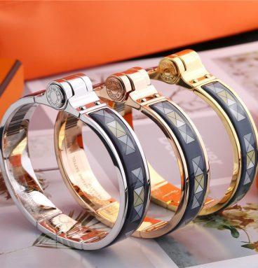 "Hermes ""blue square"" hinged bracelet"