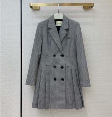 celine houndstooth coat skirt