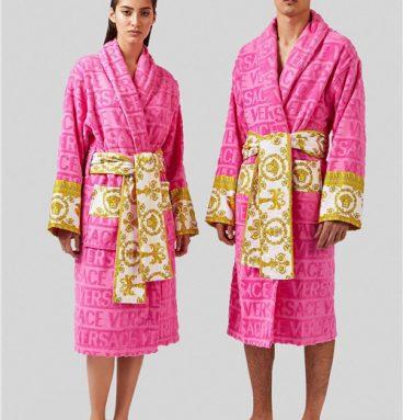 versace bathrobe pink
