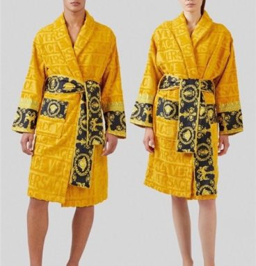 versace bathrobe black and gold