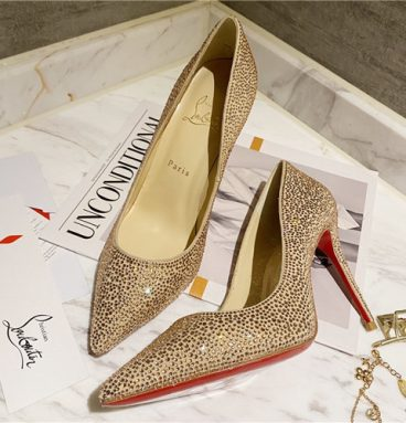 christian louboutin diamond high heels gold