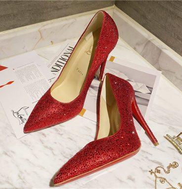 christian louboutin diamond high heels red