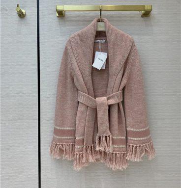 dior fringed shawl coat