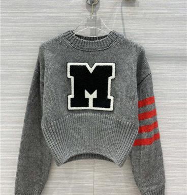 miu miu gray short sweater