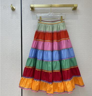 Zimmermann Riders striped tiered skirt