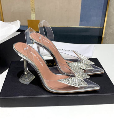 amina muaddi clear crystal shoes