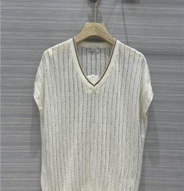 brunello cucinelli silk knit top