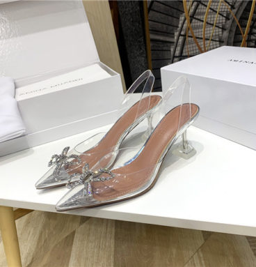 Amina Muaddi Crystal High Heels Sandals