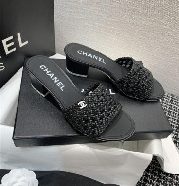 chanel heel sandals slippers
