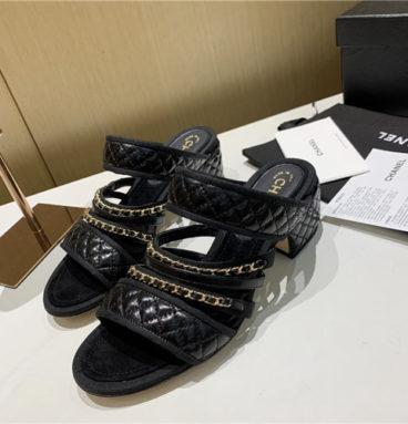 chanel low heel chain sandals
